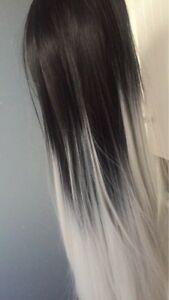 All down ombré grey long wig available for sale
