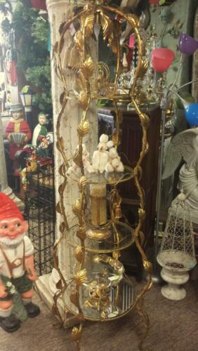 REDUCED Italian Etagere Tole gold gilt shelf toleware Vintage 1960s  light