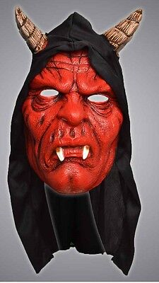 Unisex Latex Halloween Fancy Dress Red Hooded Scary Devil Mask With Horns