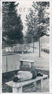 1967 Man Sleeps on Bench Cleveland Mall Public Park Ohio Press (Cleveland Mall)