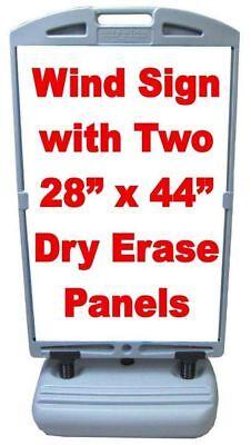 Super Grande Wind Frame Sandwich Board Sidewalk Sign W28x44 Dry Erase Panels