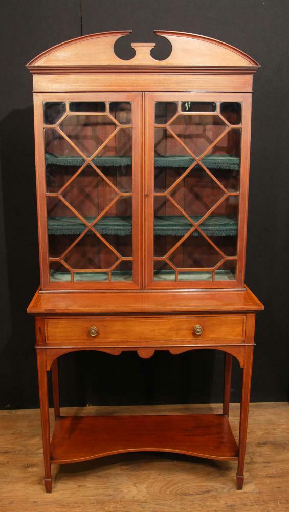 Antique Edwardian Sheraton China Cabinet Bookcase