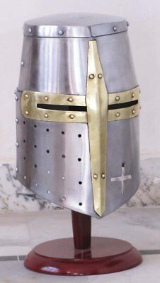 Medieval Templar Crusader Knight Armor Helmet With Wooden Stand Greek Spartan - Greek Spartan Armor