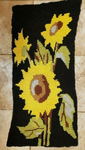 Finished Crewel Needlework Needlepoint Sunflowers Piano Bench Cushion Cover FS