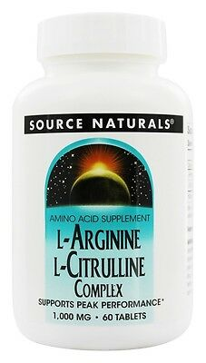 Source Naturals L-Arginine L-Citrulline Complex Peak Performance 1000 MG 60 Tab