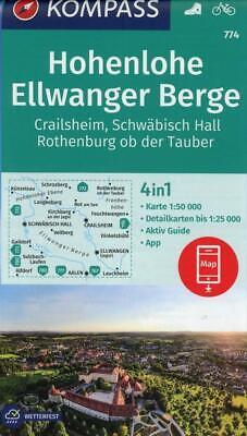 KOMPASS Wanderkarte Hohenlohe, Ellwanger Berge, Crailsheim, Schwäbisch Hall