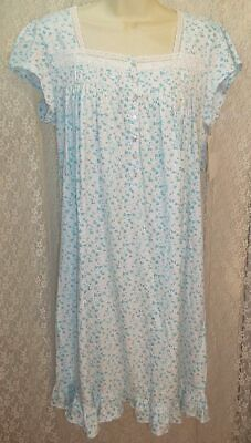 Eileen West X-Large XL Cotton Knit Nightgown Short Sleeve Gown White Aqua/Pink Cotton Short Sleeve Gown