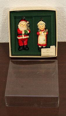 1975 MR. & MRS. CLAUS SANTA PAIR HALLMARK CHRISTMAS ORNAMENTS & TAG MIB