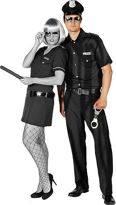 Police Officer Uniform Herrenkostüm schwarz NEU - Herren Karneval Fasching Verkl