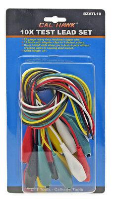 10x Test Lead Set 26 Gauge Wire 34 Long Color Coded Leads Alligator Clip