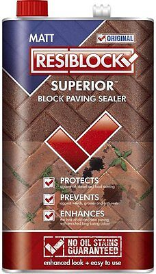 Resiblock Superior Block Paving Patio Sealer Clear Gloss Wet Look Sealant  5L 25L