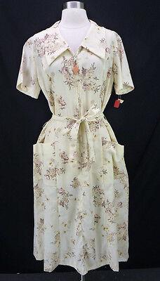 NOS Vintage 70s Beige Floral Rose Print Zip-Front Dress Belted w/Pockets L
