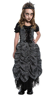 GIRLS GOTHIC GREY SPIDER PRINCESS HALLOWEEN GHOST DRESS COSTUME OUTFIT 4-6-8-10 (Ghost Princess Costume)