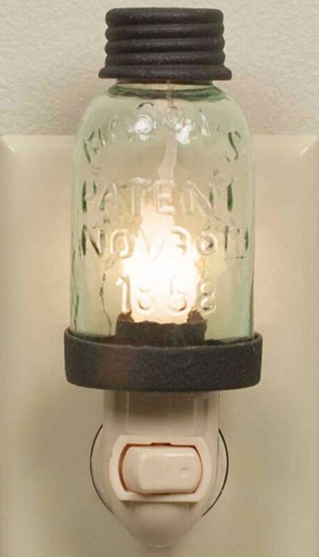 Rustic Brown Vintage Style Miniature Mason Jar Night Light with Candle-Lite Lamp