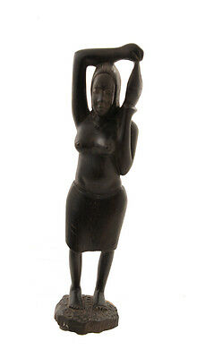 Statue Woman African Carrier of the Life Wooden Ebony 6872 CB4