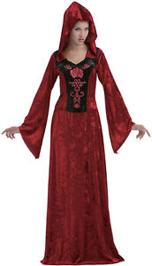 LADIES LONG MEDIEVAL VAMPIRE WITCH HOODED FANCY DRESS COSTUME OUTFIT HALLOWEEN