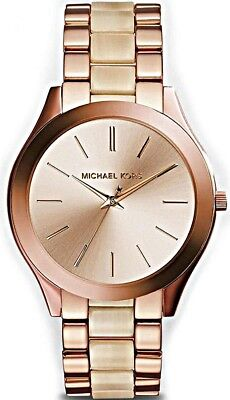 Michael Kors Ladies Slim Runway Rose Gold-tone Watch  - MK3714