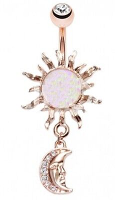 Belly Button Ring Navel 14g Rose Gold Plate Opal Celestial Sun Moon Dangle 14g Gold Plate
