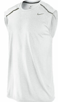 Nike Men's Pro White Dri Fit Sleeveless Running Shirt Fit Dry Sleeveless