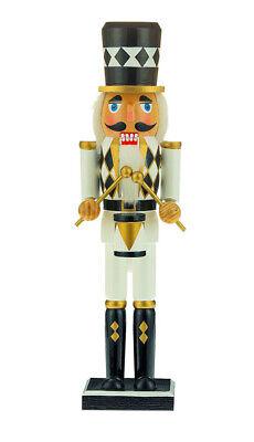 [Kurt Adler Nutcracker - Black, White, and Gold Soldier with White Diamond Hat </Title]