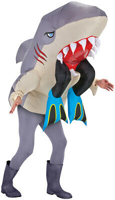 HALLOWEEN ADULT GREAT WHITE SHARK WITH LEGS  INFLATABLE  COSTUME MASK PROP