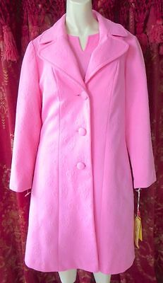 VINTAGE 1960s EDITH FLAGG PINK AS HECK DRESS AND COAT SET STILL WITH TAGS LARGE