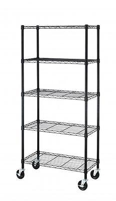60x30x14 5 Tier Shelf Shelves Steel Wire Metal Shelving Rack Storage Wheels