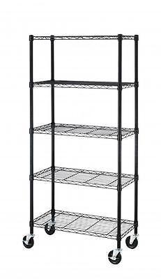 5 Shelf Black Steel Wire Shelving 30 By 14 By 60-inch Storage Rack Wwheels 605