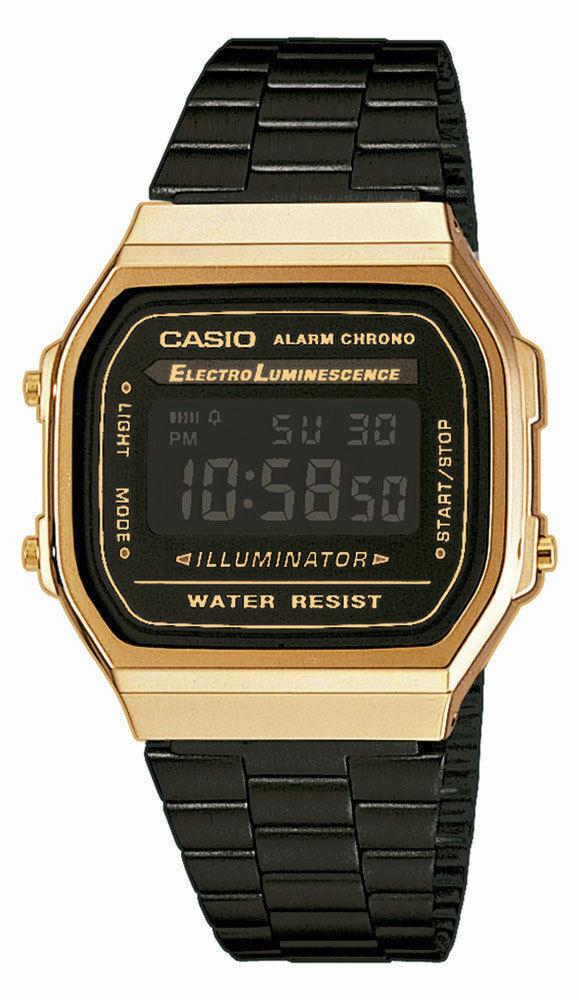 Casio  A168WEGB-1BEF Retro Klassiker Digitaluhr Uhr Goldfarben Gold Unisex Neu