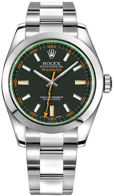 116400-GRNSDO Brand New Rolex Milgauss Black Dial Oystersteel Men's Watch
