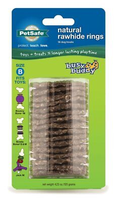 PetSafe Busy Buddy RAWHIDE GNAWHIDE RINGS Dog Toy Treat Refills Medium