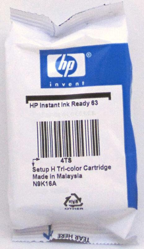 HP 63 Color Setup Ink Cartridge N9K16A New Genuine