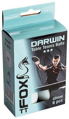 Fox TT Darwin 3 Star Quality Table Tennis Plastic Balls Pack of 6