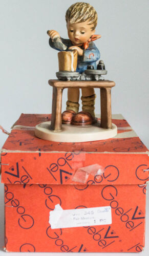 "Hummel ""A Fair Measure"" Boy W/ Table & Weights #345 W/Box 6"" Tall Figurine TMK5"