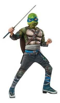 Ninja Turtles Movie 2 Deluxe Leonardo Child Costume, Green/Blue, Rubies - Ninja Turtles Movie Costumes