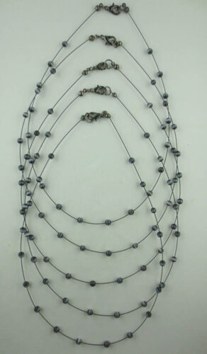 LOT OF 5 BLACK MOONGLOW GLASS BEAD NECKLACES L39