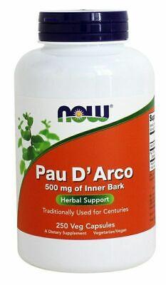 NOW Foods PAU D'ARCO Inner Bark 500 mg, 250 Veg Caps - GUT HEALTH, ANTIBIOTIC 250 Caps Now Foods