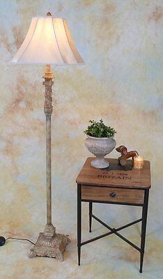 Stehlampe Lampe Stehleuchte Stoffschirm klassisch antik Look Craquelé PQ003-a