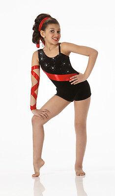 Flash Dance Costume Black Glitter Velvet w/Red Biketard Baton Tap AXXL AXL AL AM](Black Flash Costume)