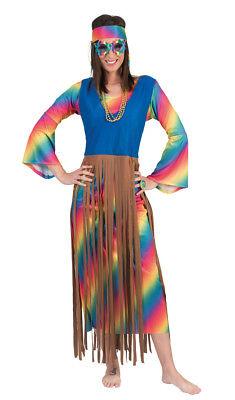 Hippie Fransen Kleid Lucy für Damen Regenbogen 70er Jahre Kostüm Festival (Fransen Hippie Kostüm)