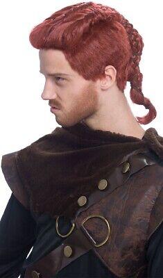 Mens Ginger Wig (Mens Auburn Ginger Plaited Viking Warrior Wig Fancy Dress Costume)