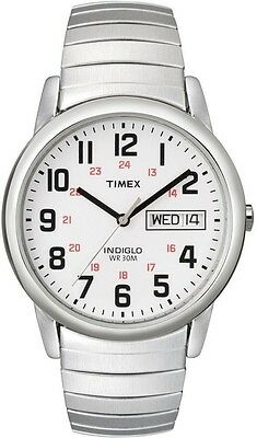Timex T20461, Easy Reader, Men's, Silvertone Expansion Watch, Indiglo, Day/Date