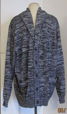 ROUTE 66 MENS MEDIUM CARDIGAN KNIT SWEATER SHIRT   BLACK WHITE VARIEGATED NWT +