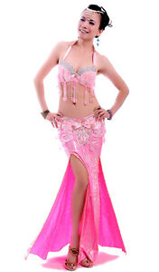 Pink belly dance costume bra belt belly dance dress dancewear 36B/C 90cm