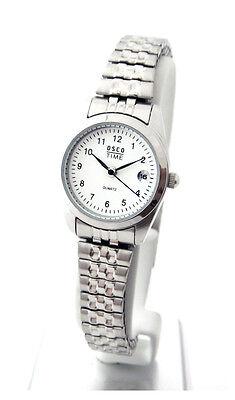 OSCO KLASSIK Damen Armbanduhr Edelstahl-Flexband Datum 'Luxury'