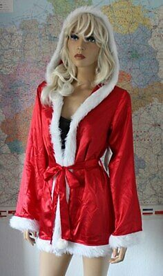 Weihnachts Kostüm Set Nachthemd Jacke mit Kapuze Satin - Pelz Damen Kostüme