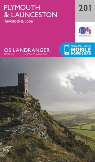 Plymouth & Launceston Tavistock & Looe Landranger Map 201 Odnance Survey 2016