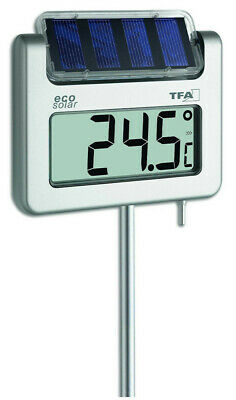 TFA 30.2026 Avenue Garden Thermometer Digital Solar LCD Display Clock Lighting