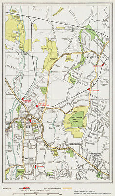 Uxbridge, Hillingdon, Ickenham - old vintage  Map London 1932 #142