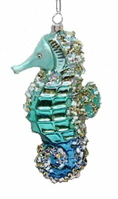 December Diamonds Blown Glass Embellished Seahorse Christmas Ornament